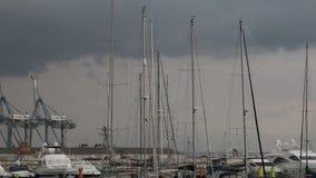 Jachthavenmasten op de wind stock videobeelden