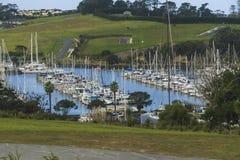 Jachthavenmening, mening van jachthaven, Auckland, Nieuw Zeeland Stock Foto