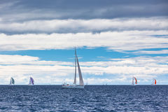 Jachtregatta bij het Adriatische Overzees in winderig weer royalty-vrije stock afbeelding