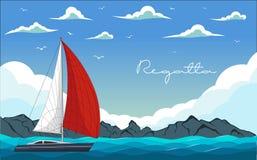 Jachtregatta Vector illustratie Royalty-vrije Stock Afbeeldingen