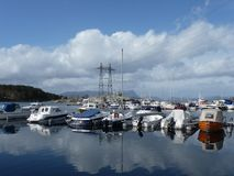 Yachts on the sea in Norway royalty free stock images