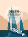 Jachtu klubu ulotki projekt z żagiel łodzią ilustracja wektor
