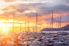 Jachtu marina przy zmierzchem. Montenegro. Obrazy Royalty Free