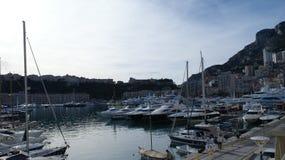 Jachtu port w Monaco Monte, Carlo w zimie, - Fotografia Royalty Free