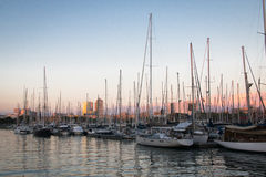 Jachtu schronienie Portowy Vell w Barcelona, Hiszpania Obrazy Royalty Free