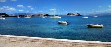 Jachty cumowali w zatoce Agni Corfu Obraz Royalty Free
