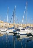 Jachty cumujący na Dahla Dockyard zatoce, Malta Obrazy Stock