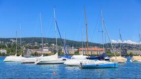 Jachty na Jeziornym Zurich Obrazy Stock