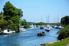 Jachty na rzece, Wareham Obraz Royalty Free