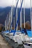 Jachty na zima parking na jeziorze Zdjęcia Royalty Free