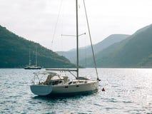 Jachty, łodzie, statki w zatoce Kotor Zdjęcia Royalty Free