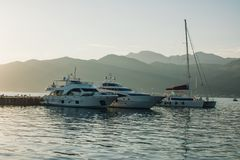 Jachty schronienie, Tivat, Montenegro Fotografia Stock