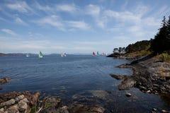 Jachty target849_1_ w morzu Fotografia Stock