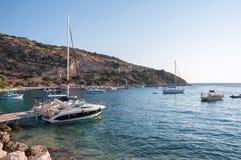 Jachty w Agios Nikolaos porcie na Zakynthos Obraz Royalty Free