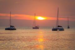 Jachty w oceanie Zdjęcia Royalty Free