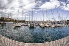 Jachty w porcie przy Barcelona, Hiszpania Obrazy Royalty Free