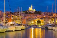 Jachty w porcie w Marseille przy nocą Obraz Stock