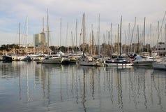 Jachty w Portowym Vell w Barcelona, Hiszpania Zdjęcie Stock
