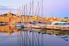 Jachty w Starym porcie Marsylski, Francja Fotografia Royalty Free