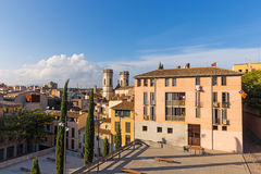 Jacint Verdaguer Square, in the downtown of Girona. Catalonia Royalty Free Stock Images