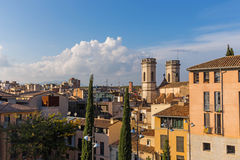 Jacint Verdaguer Square, in the downtown of Girona. Catalonia Stock Images