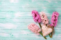 Jacintos rosados frescos y corazón decorativo en la pintura de la turquesa Imagen de archivo libre de regalías