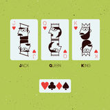 Jack, βασίλισσα και βασιλιάς Τυποποιημένες κάρτες παιχνιδιού επίσης corel σύρετε το διάνυσμα απεικόνισης Στοκ Φωτογραφία