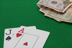 Jack and ace blackjack cards with on green Stock Images
