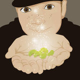 Jack and beans. Illustration of young jack holding magic beans Royalty Free Stock Image