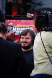 Jack Black bij de versie van de Panda DVD van de Kungfu. Stock Afbeeldingen