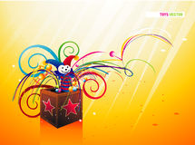 Jack in the  box. Joker box  composition illustration over a color background Royalty Free Stock Image