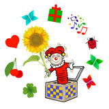 Jack in the Box. Illustration of a Jack in the Box popping out with various gifts and surprises Royalty Free Stock Image