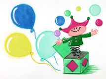 Jack in the Box. Colorful Jack in the Box playing with balls and balloons in the background royalty free illustration