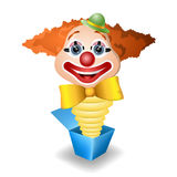 Jack in the box. With clown head on white Stock Photos