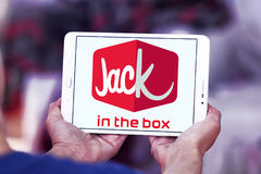 Jack in the box fast food restaurant logo. Logo of jack in the box fast food restaurant on samsung tablet Royalty Free Stock Photo