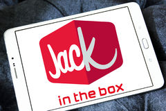Jack in the box fast food restaurant logo. Logo of jack in the box fast food restaurant on samsung tablet Stock Image