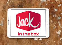 Jack in the box fast food restaurant logo. Logo of jack in the box fast food restaurant on samsung tablet on wooden background Royalty Free Stock Images