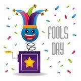 Jack in box hat confetti decoration fool day. Vector illustration Stock Photo