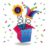 Jack in the box jester hat and flower prank comic confetti. Vector illustration Stock Photos