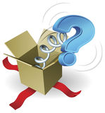 Jack in the box question mark concept. A question mark springing out of a box conceptual illustration Stock Photography
