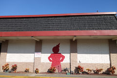Jack in the Box Restaurant exterior with a Red Jack painted on t Stock Photo
