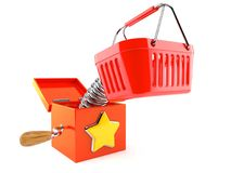 Jack in the box with shopping basket. Isolated on white background Royalty Free Stock Photography