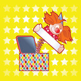 Jack in the Box with Sign. Illustration of a clown toy, a jack in the box holding a blank sign on a yellow background of stars Stock Images