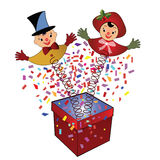 Jack-in-the-Box - toy. Stylized vintage Jack-in-the-box couple christmas toy Stock Photos