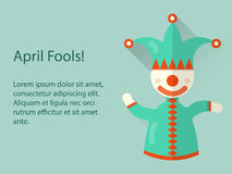Jack in the box toy, dancing clown toy. Flat  banner concept. Royalty Free Stock Photos