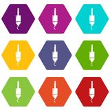 Jack cable icons set 9 vector. Jack cable icons 9 set coloful isolated on white for web Vector Illustration