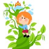 Jack che scala il gambo di una pianta di fagioli magico Immagini Stock