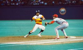 Jack Clark and Jose Cruz, Sr. Cardinals 1B Jack Clark takes a pick off throw as Astros baserunner Jose Cruz, Sr. gets back to the base. Image taken from color royalty free stock photos