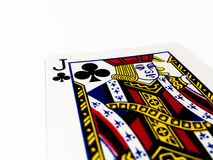 Jack Clovers / Clubs Card with White Background. A playing card is a piece of specially prepared heavy paper, thin cardboard, plastic-coated paper, cotton-paper Stock Images