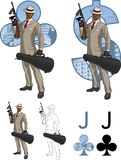 Jack of clubs afroamerican mafioso with Tommy-gun Stock Photography